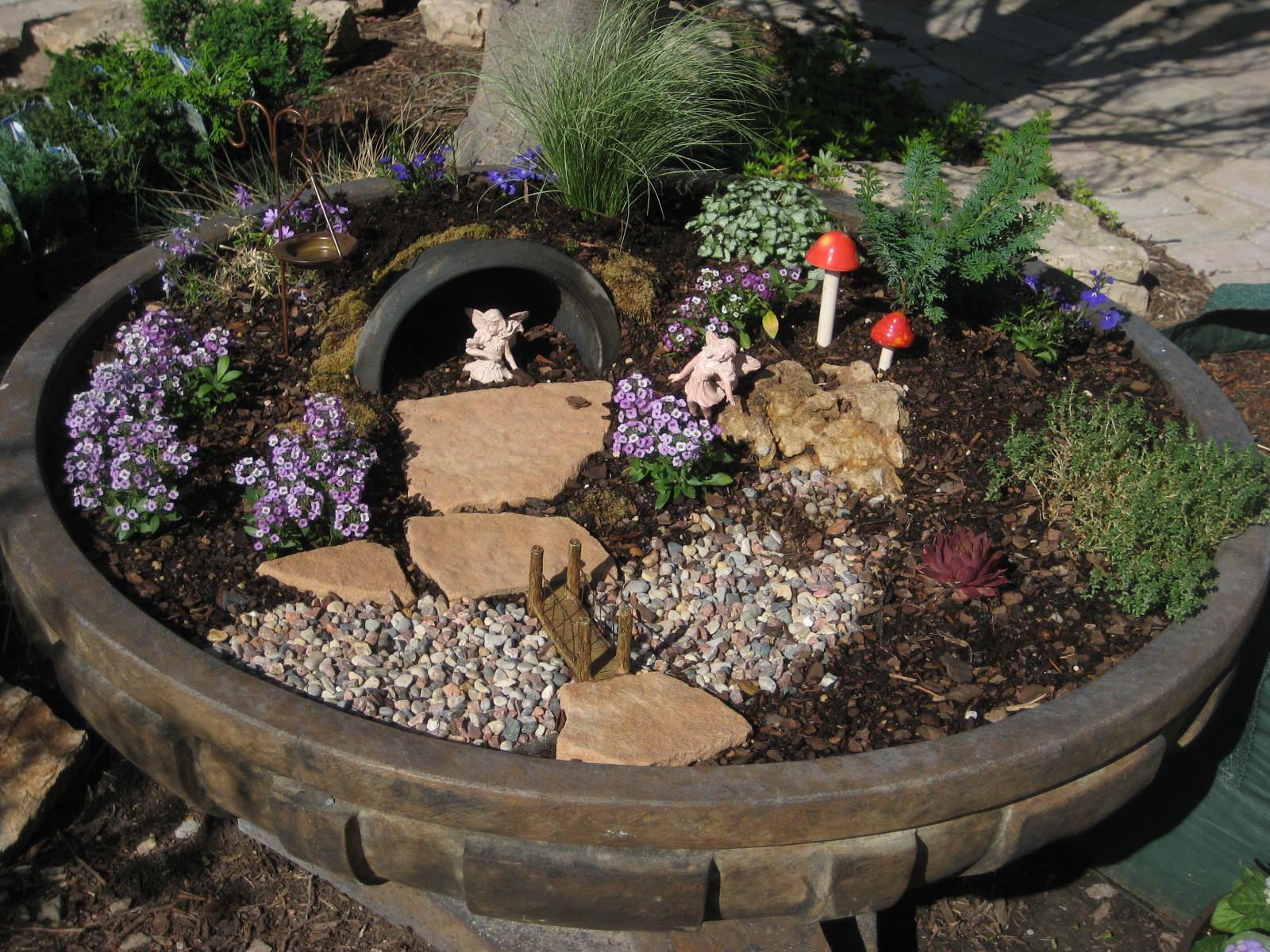 Fairy Garden in Broken Fountain