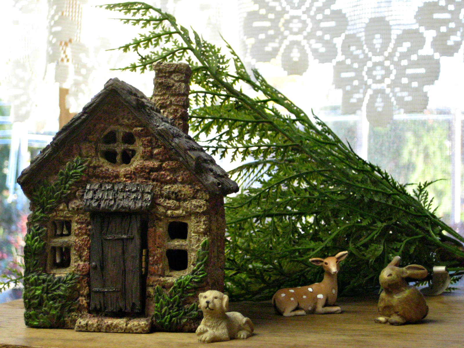 Miniature Garden House and Animals